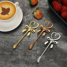Tea Coffee Mixing Spoon Mini Heart Love Spoon Long Handle Flatware Co-_cd