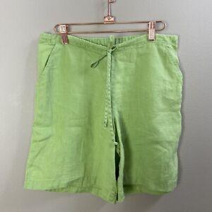 Flax Linen Green Drawstring Shorts Petite Small Englehart Lagenlook Artsy