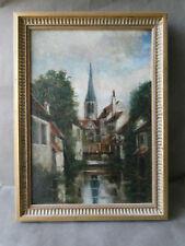 ancienne huile sur bois, ville, église, cours d'eau, personnage, Normandie ?