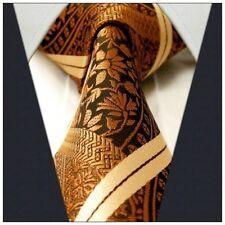 Uomo CRAVATTA Gold Caramel Paisley A Strisce Marrone Bronzo Cravatta Matrimonio Floreale Seta