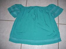 Ladies top by So, size XL, turquoise color with crotchet on sleeves and bottom.