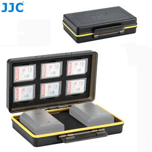JJC 2 Camera Battery + 6 SD SDHC SDXC Card Case Holder for Canon Nikon Sony Fuji