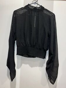 Glassons Black High Neck Cropped Blouse Size 10 Brand New With Tag
