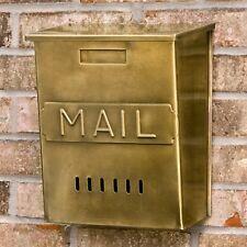"""Vertical """"Mail"""" Wall-Mount Brass Mailbox - Antique Brass"""