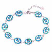 Blue Fire Opal Aquamarine Silver for Women Jewelry Gems Chain Bracelet OS493