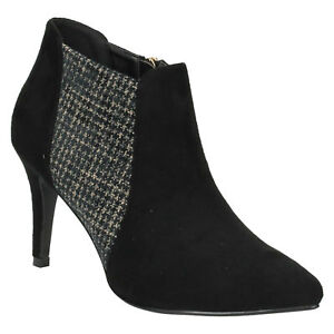 LADIES F50373  ZIP POINTED TOE STILETTO HEELED OFFICE ANKLE BOOTS ANNE MICHELLE
