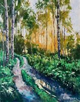road in the forest IMPRESSIONISM Landscape OIL PAINTING IDKOWIAK Impasto