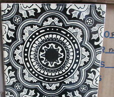 """12~Talavera Mexican tile pottery hand painted 6"""" hand made Black White swirl"""