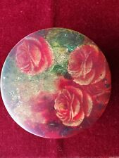 Antique Victorian handpainted wooden jewelry Box roses floral