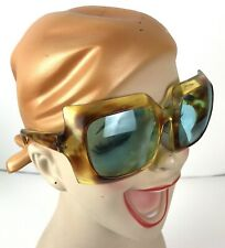 Mod Vintage Sunglasses Made In Italy Blue Lens Brown Plastic frame