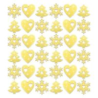 Pack of 36 Yellow Wooden Christmas Tree Pendants (Snowflakes, Trees & Hearts)