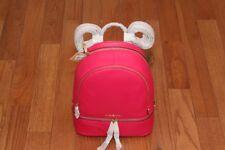 NWT Michael Kors Rhea Medium Zip Leather Backpack Handbag Ultra Pink