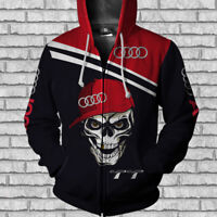 Audi TT-TOP Man's Zip Hoodie 3D-SKULL SO COOL- HALLOWEEN- SIZE S TO 5XL