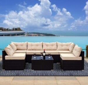 7 Piece Patio Set with Beige Cushions