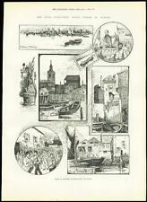 1889 Antique Print LONDON DOCKLANDS Wapping Wharves Rotherhithe Swan  (257)