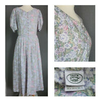 Vintage Laura Ashley floral tea dress prairie puff sleeves 80s cottagecore UK 14