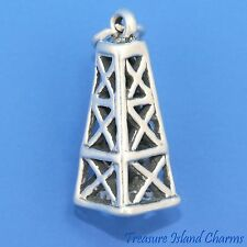 OIL WELL TOWER RIG DERRICK 3D .925 Solid Sterling Silver Charm Pendant USA MADE