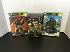 Used Xbox Halo Game Lot of 2 With Manuals And The Xbox Halo Novels (3) TESTED