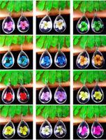 2Pcs Crystal Glass Dried Flower Teardrop Pendant Bead 18*13*10mm AE5117