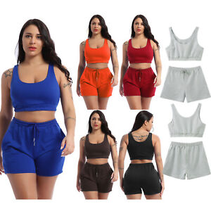 Summer Women Casual Lingerie Suit Tops with Drawstring Shorts Sportswear Workout