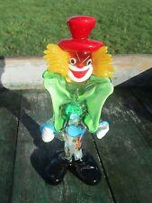 "Vintage Italian Murano Art Glass Clown Funky 8.66"" Red Hat Green Bow"