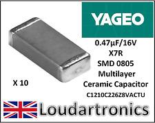 10 x YAGEO 0.47uF (470nF) 16 V X7R 10% condensatori ceramici multistrato CERAMICO-SMD