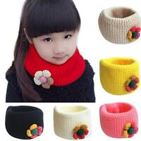 Newborn Baby Kids Girls O-ring Scarf Winter Neckerchief Woolen Knit Warmer Shawl