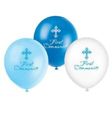 """Unique Party 43831 - 12"""" Latex Radiant Cross Blue First Communion Balloons Pac"""