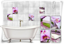 Azulejos-adhesivo spa wellness orquídeas jabón sal rosa pink violeta baño decoración