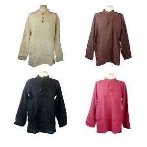 """Men's Medieval Shirt LARP Hippie Pirate 100% Cotton 6 Colours Chest Size 34""""-54"""""""