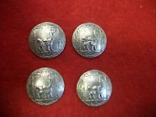 4 Vintage Silver Peru Coin Buttons