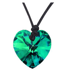 Crystal Green Heart Pendant Leather Rope Chain Romantic Women Necklace N553