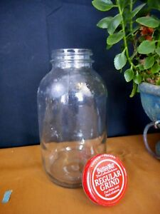 Vintage glass jar w lid Butternut Coffee Farmhouse Pantry Old School country