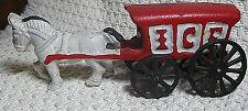 "3"" Tall Cast Iron Horse Drawn Ice Wagon, Black Cast Iron Wheels, Reproduction"