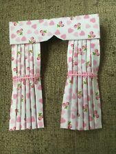 Pretty 1/12 Scale Dolls House Curtains - Hearts And Cherries
