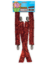 Sequin Suspenders Unisex Adjustable Braces Clipon Elastic Y-Back Dance Red New
