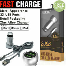 2 USB Port  Apple Certified Lightning Car Charge + Cable for  iPhone  5 6 7 #22