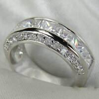Sterling Silver Princess Cut Wedding Eternity Ring Anniversary Band Or 10 pcs Cz