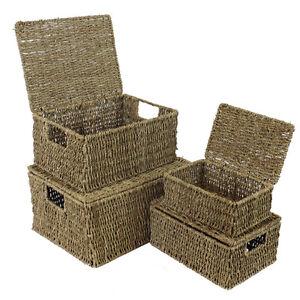 Seagrass Lidded Storage Basket Box Hamper - 4 sizes