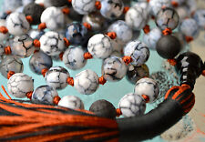 AAA Natural Agate Dragon Vein Hand Knotted Yoga Meditation Mala Beads Necklace