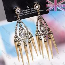 "3""LONG vintage brass SPIKY CHANDELIER EARRINGS rhinestone SPIKE DROPS crystal"
