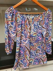 Rockmans Size XS Colourful Shirred Gypsy Style Top (generous sizing)