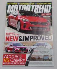 Motor Trend magazine December 2017 Vol. 69 No.12 Accord Vs. Camry Kia Stinger GT