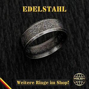 Edelstahl Wikinger Ring Wotansknoten Valknut Runen Folklore Mittelalter Schmuck