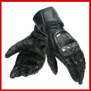 ~Dainese Druid 3 Motorcycle Track Gauntlet Gloves Black Carbon XS X-Small (7.5)~