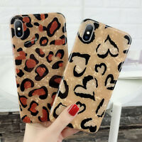 For iPhone XS Max X 6s 7 8 Plus Bling Glitter Leopard Print Soft TPU Case Cover
