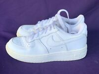 NIKE Air Force 1 WHITE Leather Sneakers Shoes Athletic RETIRED Boy Girls 👣m15b1