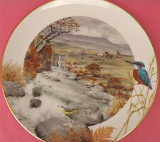 ROYAL WORCESTER A SECLUDED STREAM IN NOVEMBER PLATE PETER BARRETT KINGFISHER
