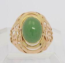♦♦Imposanter Grüner Jade Ring in aus 14 kt Gelb Gold mit Jade Jadering Goldring