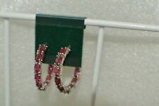 7.50ct Niassa Ruby Inside Out Hoop Earrings ~ Platinum over Fine Silver